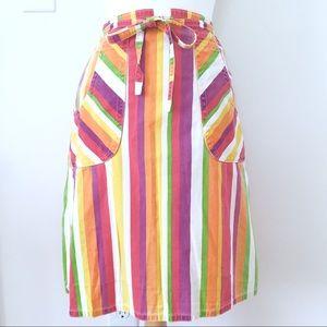 Vintage 70s Striped Denim Wrap Skirt